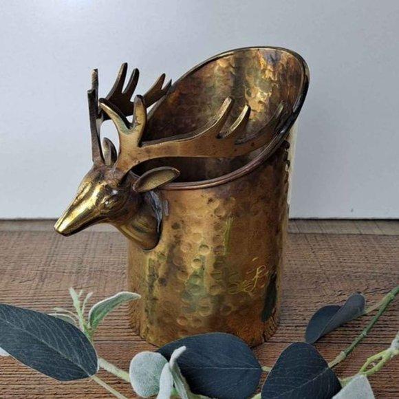 Vintage Brass Deer Planter Vase